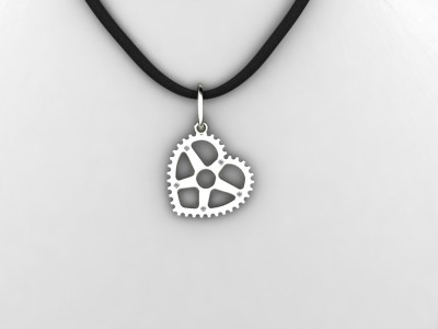 Love Sweat and Gears Collection Heart Pendant